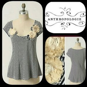 Anthropologie-Little Yellow Button Floral 3D Top